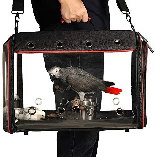 Colorday Lightweight Bird Carrier, Bird Travel Cage (Large 19 x 12 x 13, Black)