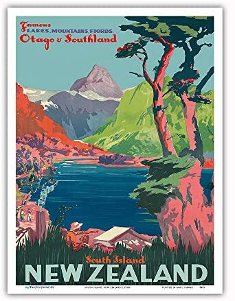 South Island, New Zealand - Otago & Southland - New Zealand Railways - Vintage Railroad Travel Poster c.1930s - Master Art Print 9in x 12in