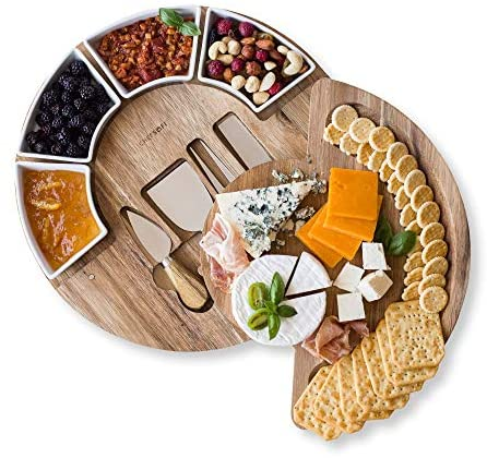 Cheese Board Set - Charcuterie Board Set and Cheese Serving Platter. US Patented 13 inch Meat/Cheese Cutting Board and Knife Set for Entertaining and Serving - 4 Knives and 4 Bowls Server Plate