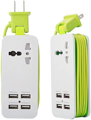 Mini USB Power Strip, 4 Port USB Charger Station 5V 2.1A-1A 21W Travel Charging Strip Outlets 5ft Extension Power Supply Cord with Universal Flat Wall Plug 100V-240V Input USB Power Sockets (Green)