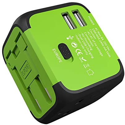 JMFONE International Travel Adapter 2 USB Universal Power Plug with Europe UK, EU, AU, US Plugs for 200 Countries for Laptop, Cell Phones (Does Not Convert Voltage) (Green)
