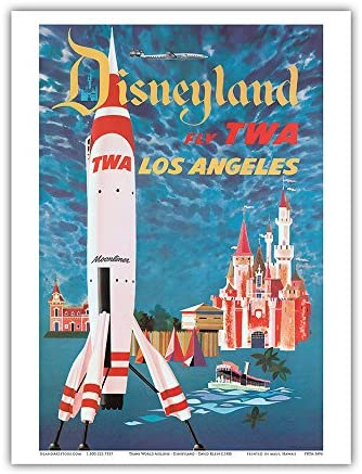 Disneyland - Los Angeles - Fly TWA (Trans World Airlines) - Tomorrowland TWA Moonliner - Vintage Airline Travel Poster by David Klein c.1955 - Master Art Print 9in x 12in