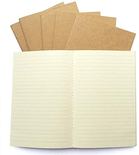 Genuine 100 GSM Traveler's Journal Refills - Lined Paper, A5 Planner Inserts - Set of 6   Ruled Thick Journal Refills for Leather Travel Journals, Writers, Diaries   8.25 x 5.5 Inch (21cm x 14cm) A5