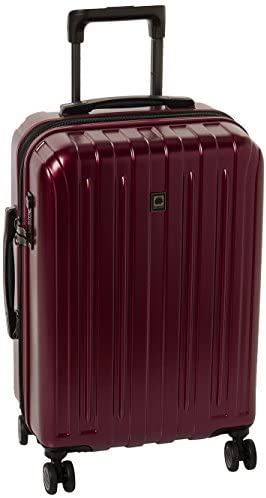 DELSEY Paris Titanium Hardside Expandable Luggage with Spinner Wheels, Black Cherry Red, Carry-On 21 Inch