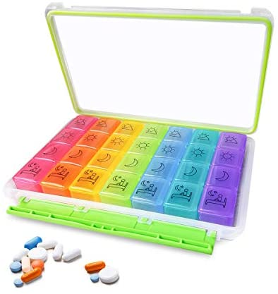Airror Pill Organizer, 7-Day AM PM Weekly Pill Case 28 Compartments Not Easy to Mix, Colorful Weekly Travel Pill Planner, Portable Travel Kits, Daily Reminders of Drugs 4 Times (Rainbow 7x4)