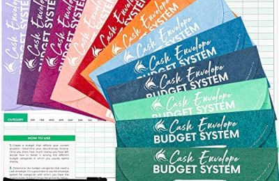 Clever Fox Cash Envelopes for Budget System – Money Envelopes for Budgeting and Saving, Tear and Water Resistant, Includes Carry Pouch & 12 Expense Tracking Budget Sheets, 12 pack – Assorted Colors