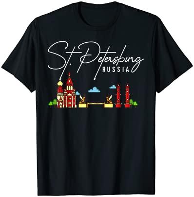 St. Petersburg Russia City Skyline Map Travel T-Shirt