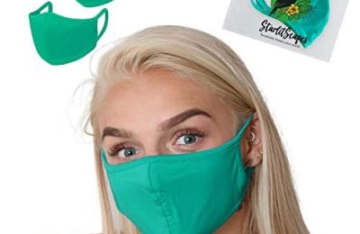StarlitScapes (2 Teal) Bamboo Face Masks w/ear loops | Colorful, Dual layer, Breathable & Washable Cloth Face Cover With a Waterproof Bag | Made in Costa Rica