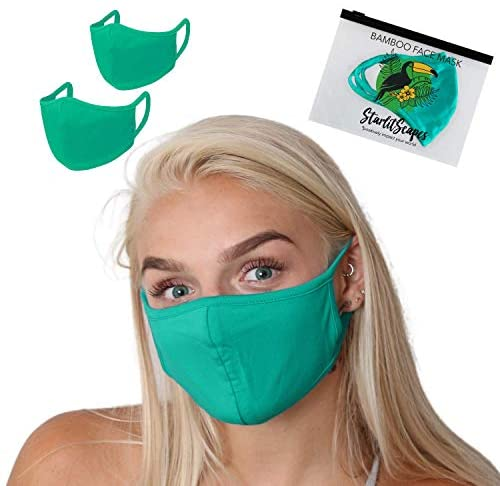 StarlitScapes (2 Teal) Bamboo Face Masks w/ear loops   Colorful, Dual layer, Breathable & Washable Cloth Face Cover With a Waterproof Bag   Made in Costa Rica