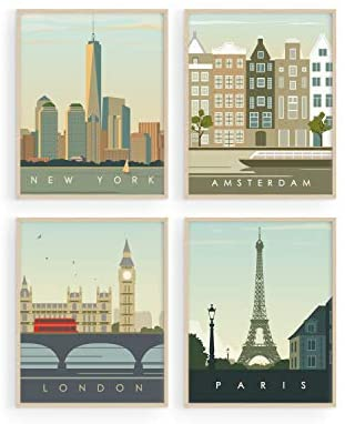 """City Wall Art Vintage Travel Posters - by Haus and Hues 