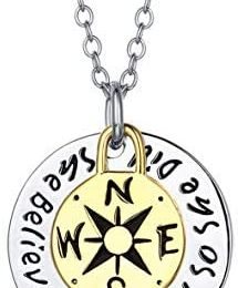Compass Necklace, Traveller College Graduation Gifts Inspirational Jewelry, Compass Pendant Necklace, Compass Necklace Friendship, Compass Life Is A Journey Enjoy The Ride