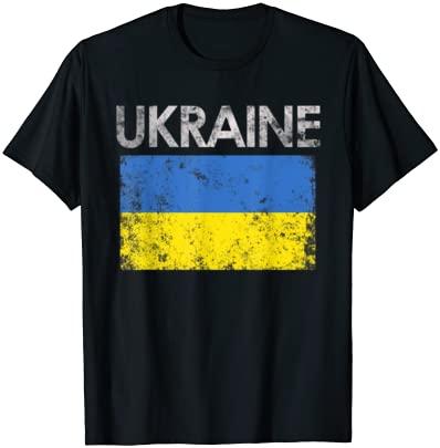 Vintage Ukraine Ukrainian Flag Pride Gift T-Shirt