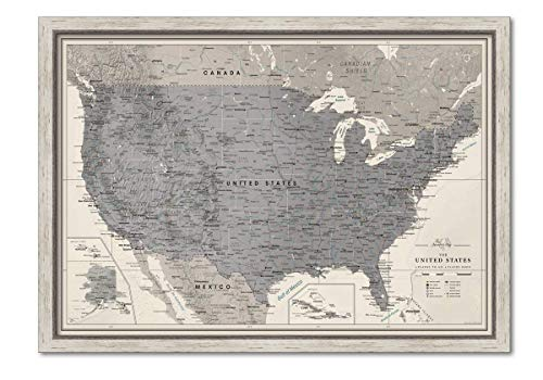 Framed US Wall Map Pin Board   Personalized US Travel Map With Push Pins   US Map With Pins to Mark Travels   Detailed and Modern Cartography USA Travel Map With Pins