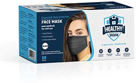 Healthy Shield 50pcs Disposable 3-Ply Safety Face Mask, Comfortable Ear Loop and Breathable, Non-Woven, Mouth Covers, Nose Clip, perfect for Adult, Men, Women, Home, Office, Indoor, Outdoor. (Black)