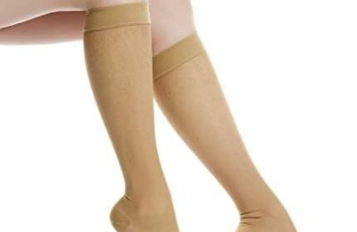EvoNation Women's USA Made Open Toe Sheer Graduated Compression Socks 20-30 mmHg Firm Pressure Medical Quality Ladies Knee High Toeless Support Stockings Circulation Hose (Large, Tan Nude Beige)