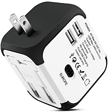 TNP International Universal Power Adapter Converter with 2 USB Charging Ports - All in One Travel Worldwide Plug Built-in Spare Fuse AC Socket Wall Outlet for US, EU, UK, AU, CN 150 Countries (White)