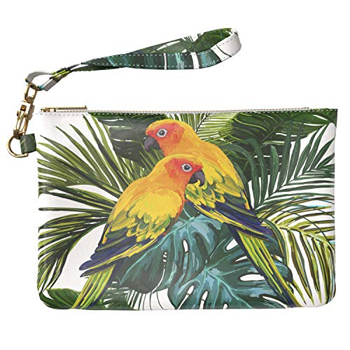 Lex Altern Makeup Bag 9.5 x 6 inch Cute Painted Parrots Tropical Birds Palm Leaves Hawaii Green Leaf Purse Pouch Cosmetic Travel PU Leather Case Toiletry Women Zipper Bathroom Storage Wristband Girly
