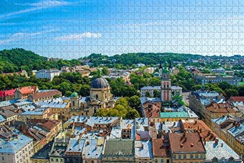 Ukraine Lviv Jigsaw Puzzle for Adults 1000 Piece Wooden Travel Gift Souvenir