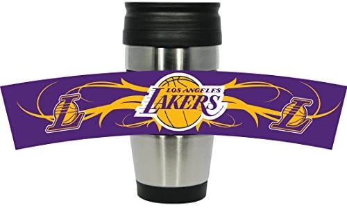 NBA Los Angeles Lakers Stainless Steel Travel Tumbler with 3D Logo Wrap, 15-Ounce, Silver