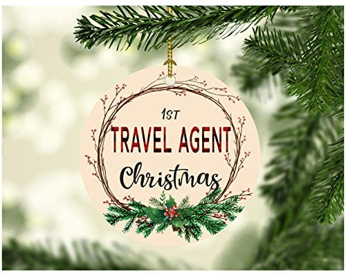 """Christmas Tree Ornament 2020 First Christmas Travel Agent Decorations Tree Congrats On New Job Good Luck Present Ideas Family Decor for A Holiday Party Funny Xmas MDF Plastic 3"""" White"""