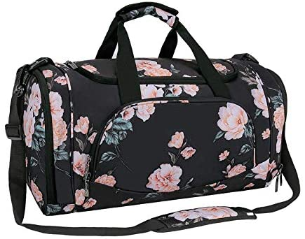 MOSISO Sports Duffel Peony Gym Bag with Shoe Compartment