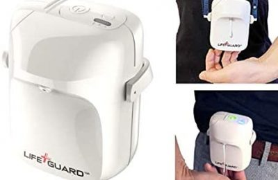 LIFE+GUARD WEARABLE TOUCHLESS HAND SANITIZER DISPENSER. Automatic sensor operation. Refillable with any hand sanitizer gel. Belt and lanyard mounts included.