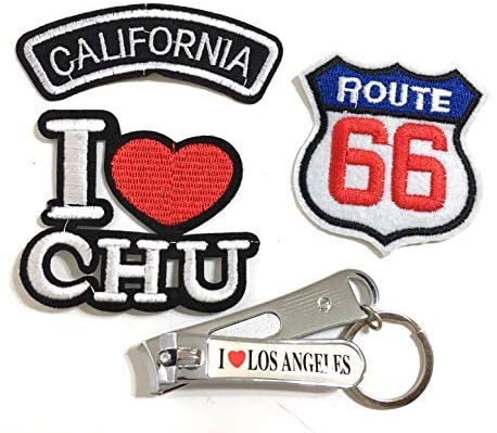 Los Angeles California Route 66 Travel Patches CA LA Clothing Accessories Iron on patchs Small Accessory Fashion Design Style Value Pack