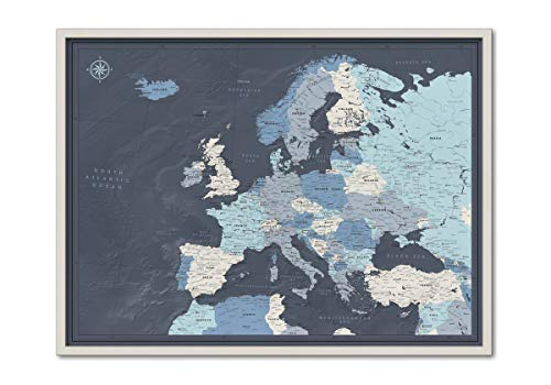 Framed Map of Europe with Push Pins | Personalized Travel Map Europe with Pins | Detailed Pin Map of Europe | Big Map of Europe With Various Customization Options