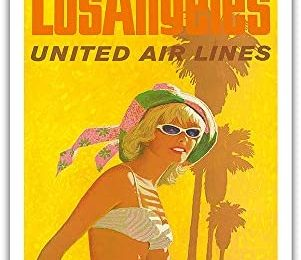 Los Angeles – United Air Lines California – Vintage Airline Travel Poster by Stan Galli c.1960s – Master Art Print 9in x 12in